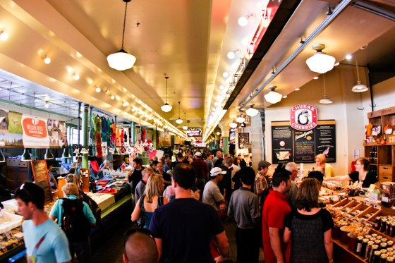 Inside the market at Pikes Place