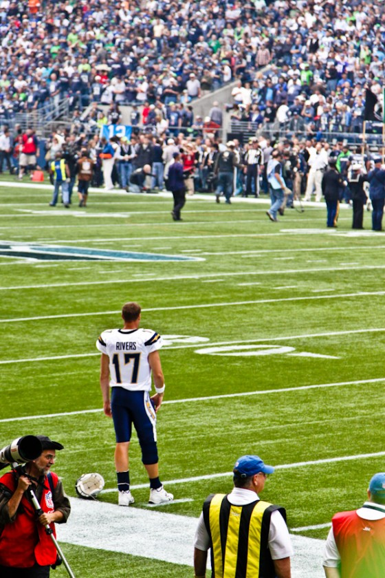 Philip Rivers standing solo starring at the Seahawks sideline.