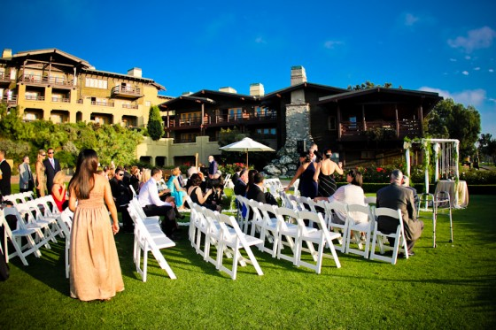 The ceremony was surrounded by The Lodge, sunsets, and tee boxes.