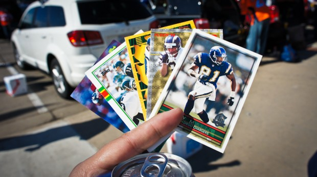 A random Charger fan started handing us MINT Charger football cards! So awesome!