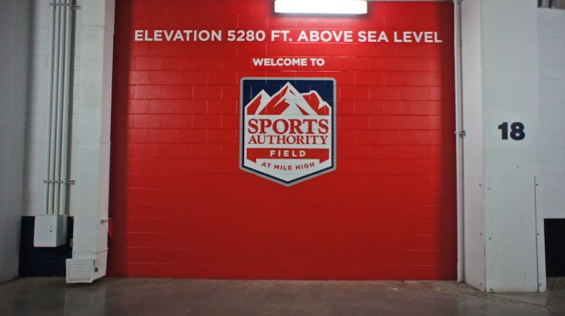 "Right outside the locker room. Some teams cover the ""above sea level"" verbiage so player don't see it."