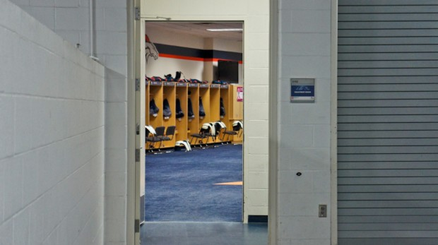 Happened to get a shot of the Broncos locker room. Apparently the Broncos don't let any visitors in their locker room.